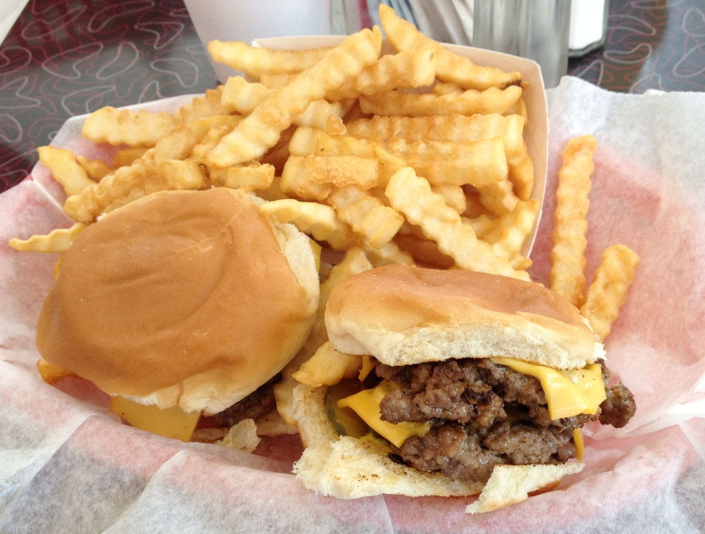 Double cheeseburger basket