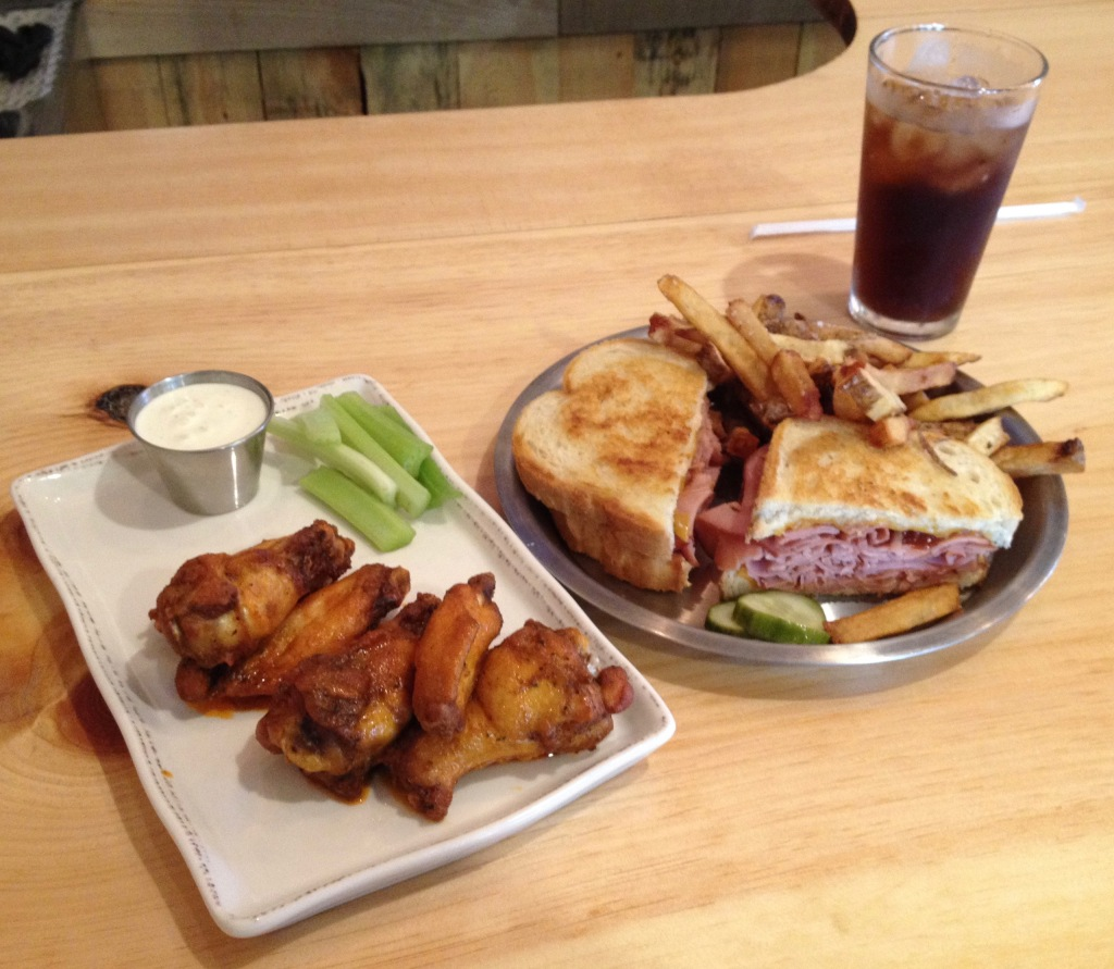 wings and sandwich